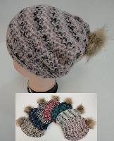 "Ladies Knitted Hat with Fur PomPom [Variegated] - <span style=""color:red"">ON SALE UP TO 50% OFF</span>"